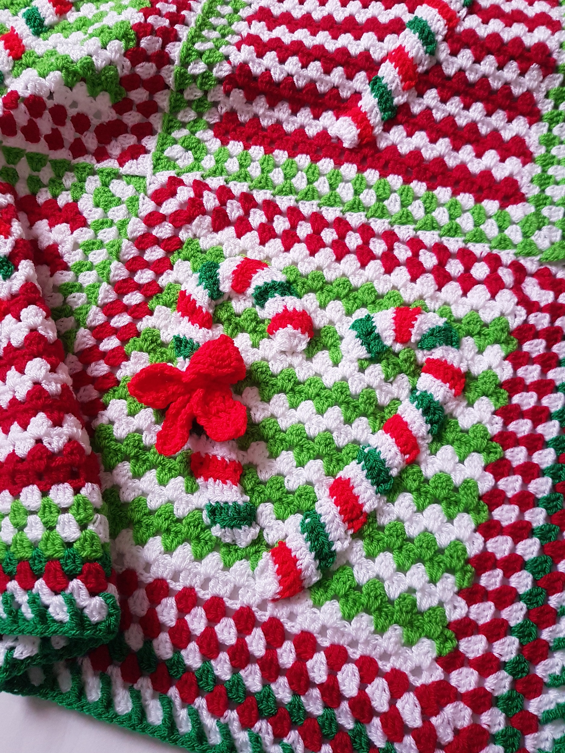 Holiday Granny Candy Cane Afghan - Free Crochet Pattern