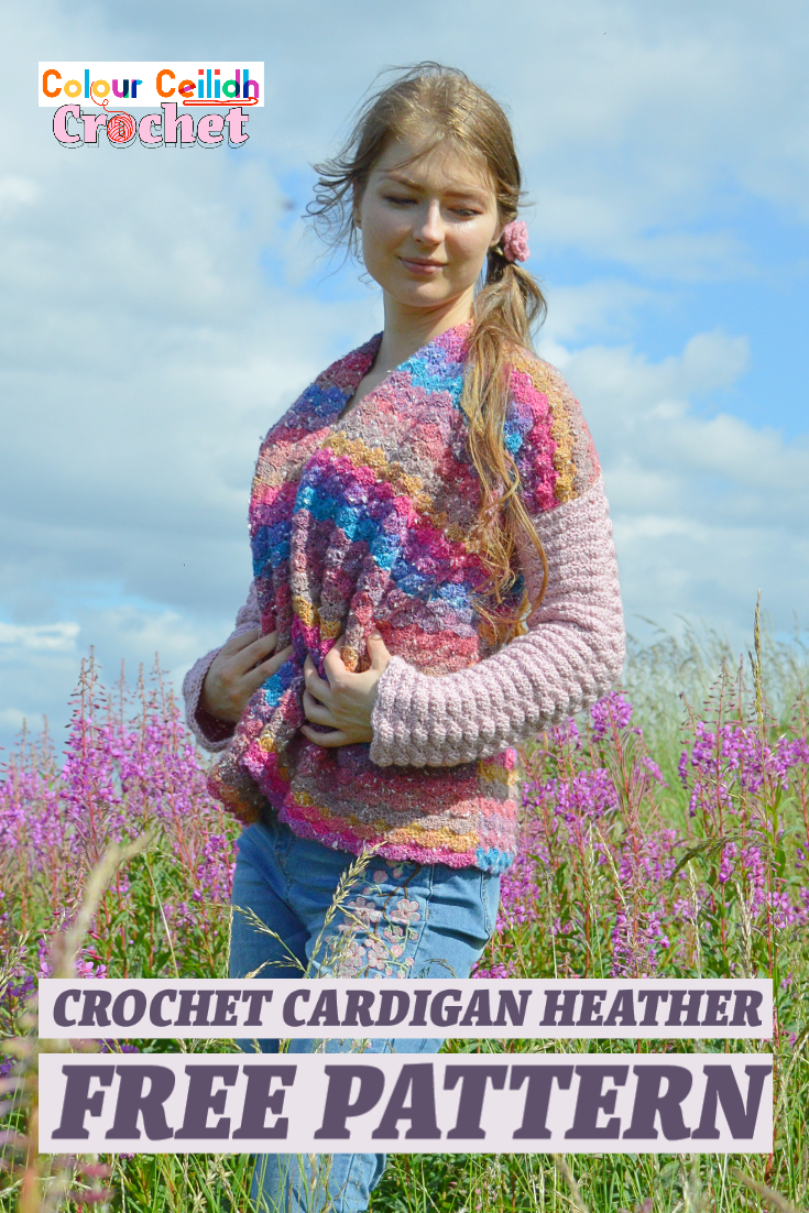 This simple an easy crochet cardigan free pattern in James C. Brett Northern Lights and DK with Merino is named after the romantic Scottish flower heather. The cardigan is made of 3 rectangles seamlessly joined together at the shoulders. This simple yet powerful construction frames your body at the shoulders and your waist with a wide comfortable belt. Easy to make solid shell stitch creates beautifully textured lacy fabric perfect for protecting you from chilly wind while still looking elegant