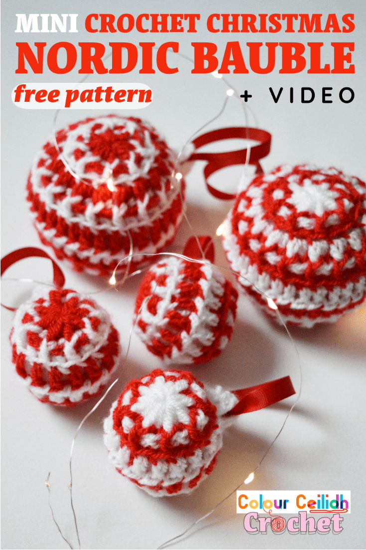 This DIY easy Christmas crochet mini Nordic bauble free pattern makes for a stunning handmade tree decoration for the holidays. Using small amounts of yarn and toy stuffing, featuring the traditional Nordic red and white color combination and the Nordic eight pointed star in the middle this easy crochet Christmas Nordic bauble is a cute addition to your handmade gift collection or your Christmas crochet decorations for your home. What I love most about this pattern is the power of simplicity.