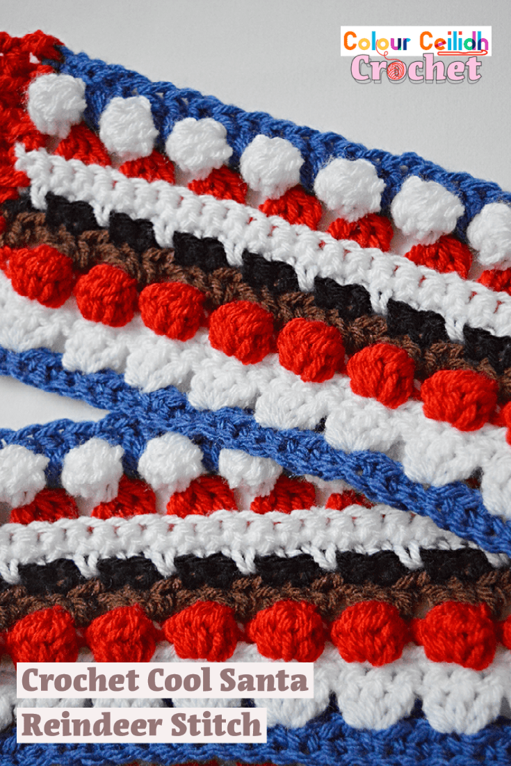 If you're looking for crochet Christmas gifts ideas, welcome to this free pattern for a novelty crochet scarf and stitch! This easy crochet scarf uses my Cool Santa Reindeer Stitch which is super fun, cool, textured and unique. Make a Christmas scarf they'll never forget or a festive crochet blanket or an afghan with it. It goes well with the granny stitch because it's based on the granny stitch!