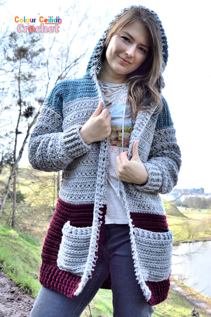 This Crochet Cross Stitch Hoodie free pattern is a long and comfortable womens hooded cardigan with practical pockets. The cross stitch is easy as it consists of only double crochet stitches. It adds beautiful texture and style to the garment. This crochet hoodie comes in 9 sizes and includes a video tutorial which shows you how I built this cardigan to make it easy.