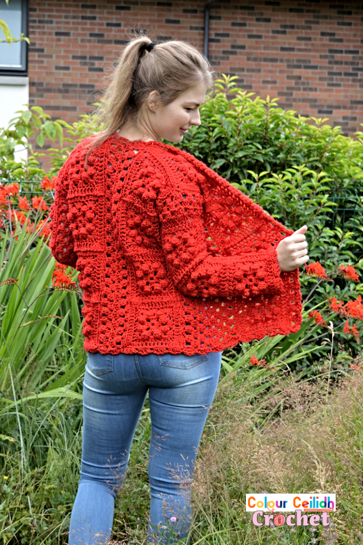 Pick your favourite shade for this easy crochet granny square cardigan which provides surface interest through bobble stitches that look great even when made all in one color. This one color granny square cardigan crochet pattern is free, it comes in 9 sizes & includes a YouTube video as well.