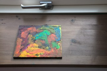 """lightfastness test of """"student"""" pigments and summer sun on wax consistency."""