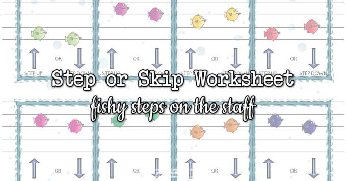 Fishy Steps on the Staff – Step and Skip Worksheet