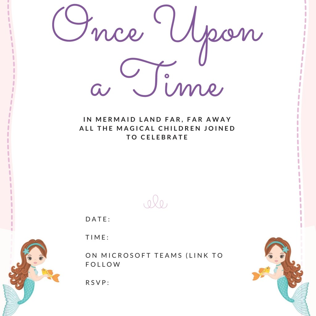Mermaid party invite template FREE