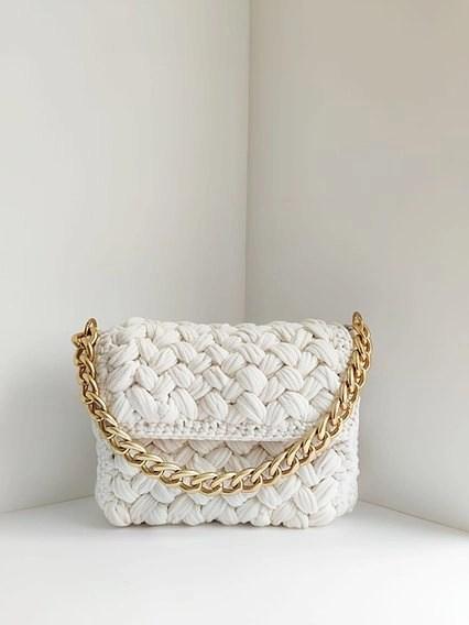 SLAVIC ATELIER white knit bag