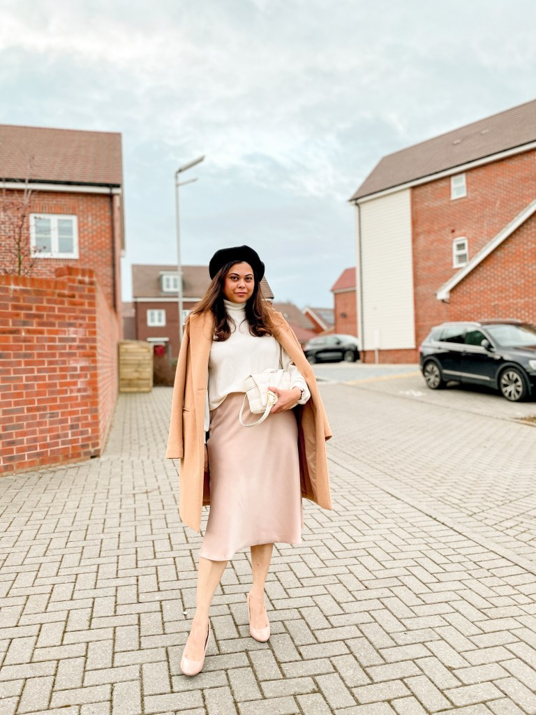 Satin Midi skirt with jumper and camel coat with nude heels colour me in style