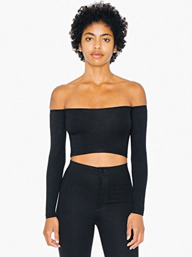 Women's Cotton Spandex Long Sleeve Off-Shoulder Top by American Apparel