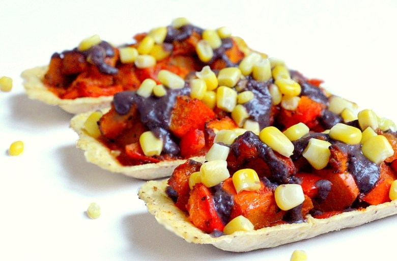 Recept vegan santa maria mini taco tubs met pompoen en zwarte bonensaus 2