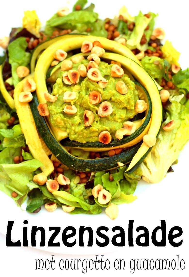 Recept vegan linzensalade met courgette guacamole hazelnoten Pinterest