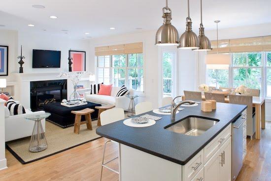 Lynn Morgan Design White Kitchen Living Room Open Floor