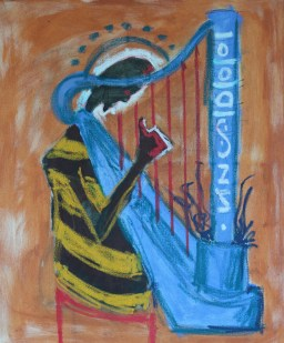 Osa Elaiho | Angel on harp | Mixed media on canvas | 24 x 20