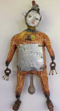 Joanne Bohannon | Measure of a Man | Ceramic, plaster strips, found objects | 14 x 8