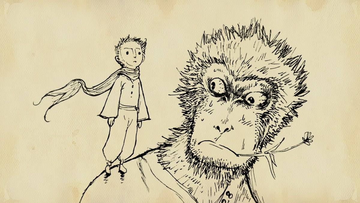 A picture of a monkey and a human