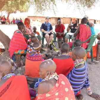 Meeting with community members at a Masai village near Amboseli to hear about human-wildlife conflict.