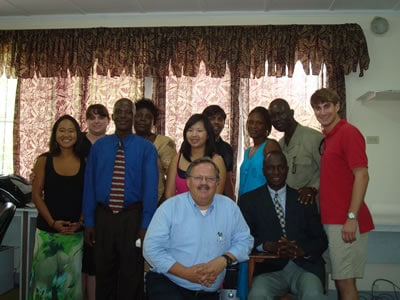 Ryan Decker '09L, far right, with his practicum class in Liberia.