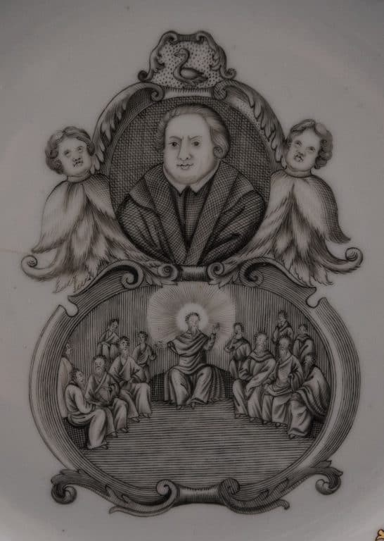 The plate features an image of Martin Luther (top), as well as a scene of Christ teaching his apostles.