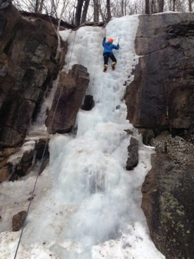 Students spent two days climbing with two local guides on ice waterfalls.