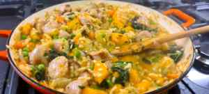 Butchers Pork Sausage and seasonal ingredients in the risotto