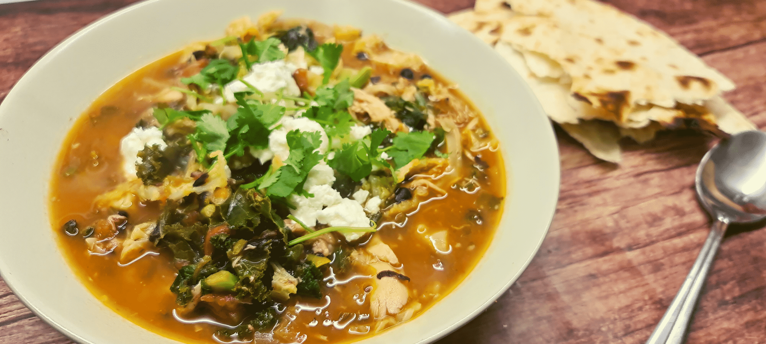 You are currently viewing Chicken, Black Bean and Kale Soup