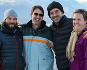 "Dr. Michael Lucek, second from left—the instructor for the Ocean Health Voyage module on ""Eco-Tourism""—wraps up production in Christchurch, New Zealand with filmmaker Ali Habashi, second from right, and colleagues."