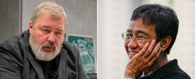 The 2021 Nobel Peace Prize was awarded to journalists Dmitry Muratov of Russia, left, and Maria Ressa of the Philippines. Photos: The Associated Press