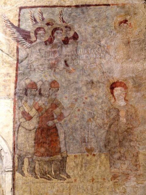 monastero di Davidank, chiesa di Katoghikè, affresco raffigurante lapidazione di Santo Stefano