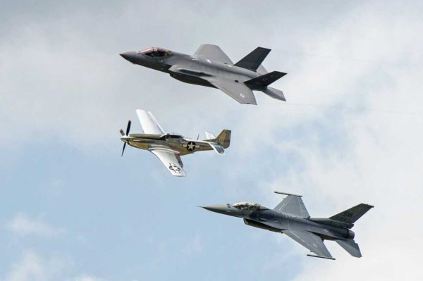 US Air Force Heritage Flight, New York Air Show, 01-07-2017, F-35, F-16, P-51 (Sean Sweeney)