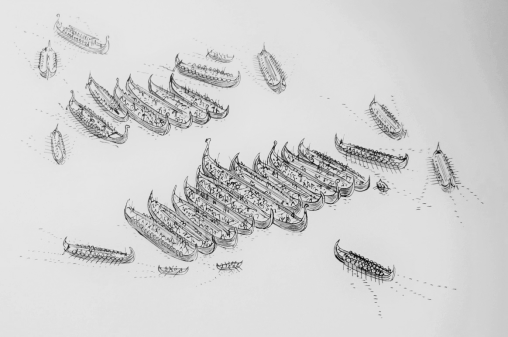 Fig. 6: Viking longships lashed together in anticipation of a naval battle as, for instance, was done in Battle of Nesjar (1016 AD) (adopted from Hjardar & Vike 2013: 86).