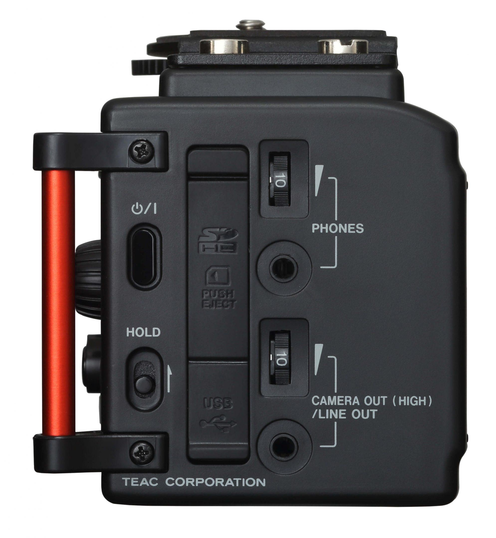 Foto van de rechterkant van de Tascam DR-60D mk2 audiorecorder.