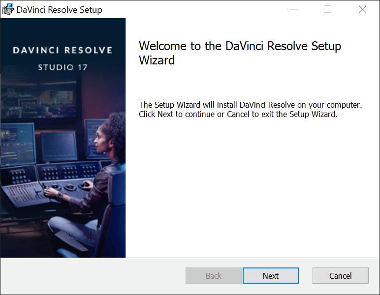 Wizard voor het installeren of updaten van DaVinci Resolve.
