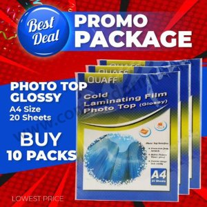 [Glossy] PROMO - 10 PACKS Quaff Photo Top Cold Laminating Film 80 microns A4 size
