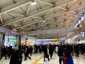 朝の大崎駅(モザイク)