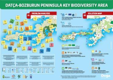 """As part of the community consultation process and mapping exercise, a poster titled """"Challenges and solutions to enhance the resilience of the Datça – Bozburun Peninsula's socio-ecological production landscape and seascape"""" was produced. The poster is used as an educational tool for local communities and for building awareness among tourists visiting the area. The baseline assessment led to the preparation of a COMDEKS Country Program Landscape Strategy for Turkey, a comprehensive document which outlines the landscape profile, expected goals and outcomes, and key measures and strategies for community-based actions. To assist innovative actions identified by the communities, community-based projects organized around the COMDEKS Landscape Strategy are funded through small grants."""
