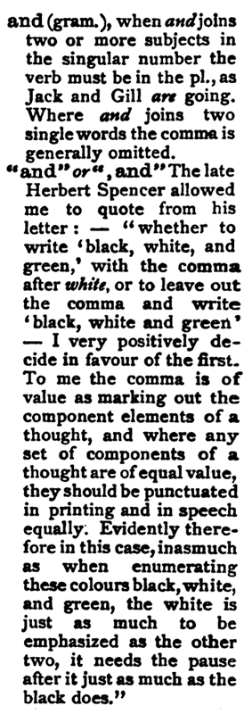 """Origin of the """"Oxford comma"""". from page 12 in Collins, F.H. (1912/1905) Authors' & Printers' Dictionary. 4th edition. Henry Frowde, London."""