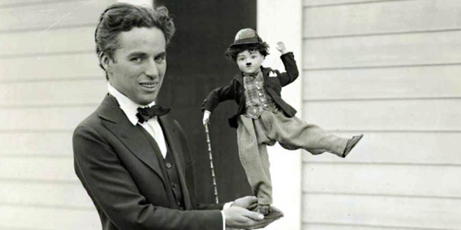 Charlie Chaplin with Tramp doll