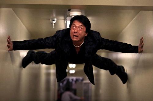 Jackie Chan hiding.