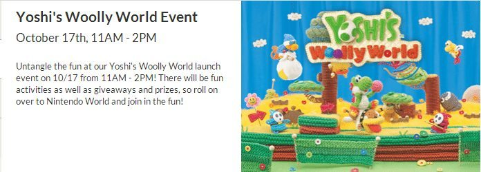 Yoshi's Woolly World; Release date; Event
