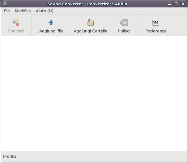 La schermata principale di Sound Converter