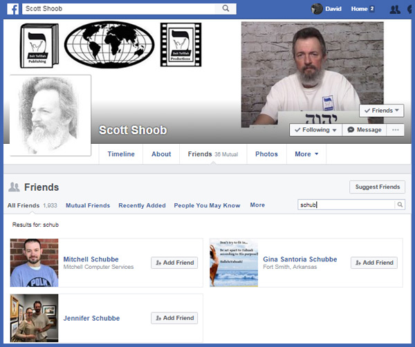 It appears that Scott uses the name Shoob in his ministry, but his real name is Schubbe; as Jennifer, Gina and Mitchell all spell it Schubbe.