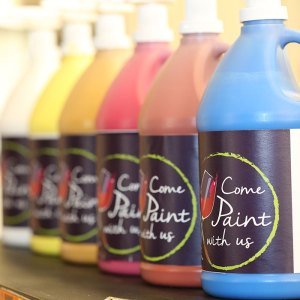 Come Paint with Us labeled paint jars