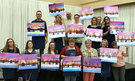 Happy attendees after the Winter Dream paint and sip class
