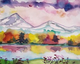 Fall Reflections painting, watercolor