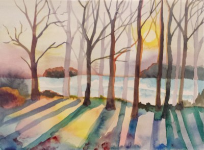 winter trees, watercolor