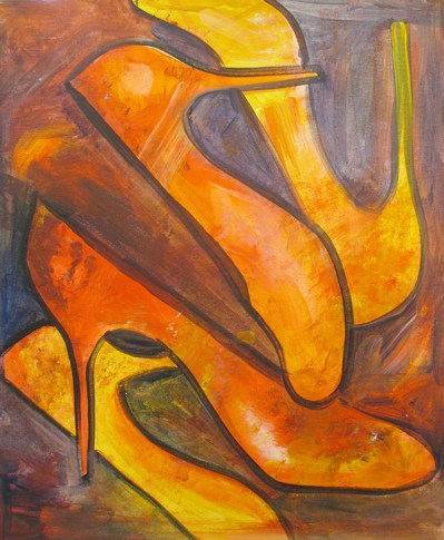 Crazy shoes painting, acrylic