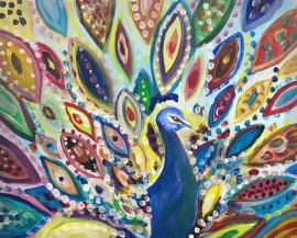 Peacock painting for The Nest fundraiser