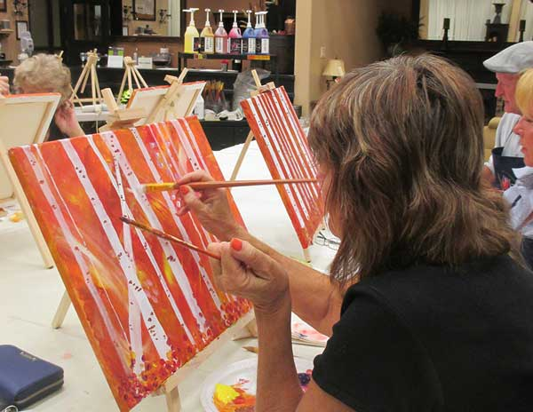 Grass Valley CA birch tree paint and wine class