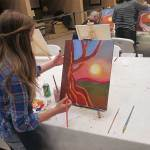 Rich colors in wine and paint class Grass Valley CA