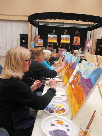 Paint and wine class in full swing