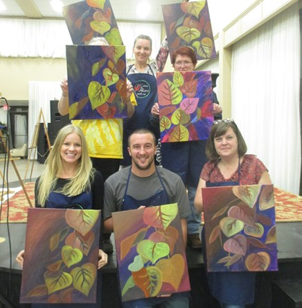 Paint and wine class in Grass Valley CA stunning fall leaves